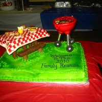 Family Reunion Picnic Family reunion picnic and grill cake. Put everything on a sheet cake, so there where plenty of servings. The table is RC, the bench is...