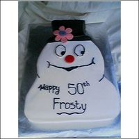 Frosty The Snowman Birthday Cake Simple - done in 2 hrs. Fondant over hand carved layers, frosting detail.