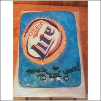 Miller Lite Birthday Cake Painted fondant over marble layers.