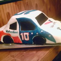 Valvoline Nascar Cake  My son works for Valvoline and they were trying for a record number of oil changes today, so I baked them a cake to celebrate! I took an 11...