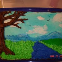 Scenic Painting Sheet cake with BC icing. Piped images out then smoothed to give it more of a painting look.