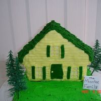 "Congratulations On Your New Home   Wilton 3-D house pan on top of 9"" square pan. everything decorated in buttercream"