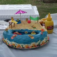 Beach Party Cake This is another one of my first cakes. This one was for my neices 8th birthday. She had a beach party...I used Teddy Grahams and the ocean...