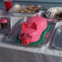 Pig Roast C Ake I made this cake for my sister-in-laws Pig Roast...I used two Pyrex bowls for the head and body, a half of cupcake to buildup the neck area...