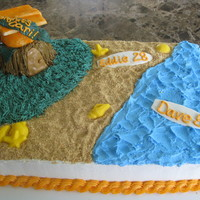 Luau Themed Birthday Party/graduation Fun cake to make!! Triple Chocolate Fudge with Chocolate Ganache filling. Sand is crushed Nilla Wafers, accents are MMF, seashells are...
