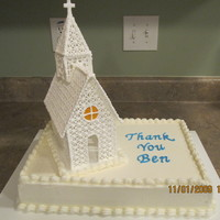 Pastor's Retirement Made this for my Pastor's Retirement. House is made from royal icing, great detailed instructions provided by jkeeler, thank you!!...