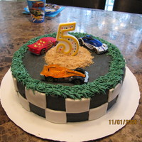 Nascar Fun little Nascar cake for my son's 5th birthday party! All the kids loved it and each one got to take one car home.