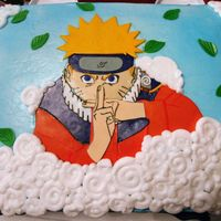 Naruto fondant/gumpaste decorations. clouds were buttercream. i forgot to take a picture of the cake and the mom was kind enough to send me one....