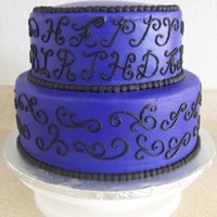 "Xanthe's B-Day all buttercream. scroll work and ""happy birthday"" was free hand. done for my daughter's 17th birthday."