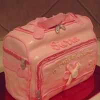 Diaper Bag Baby Shower Cake Cake was made with 2 1/4 sheet cakes and carved and iced in buttercream; then covered in fondant. I found the diaper bag on babies r us...