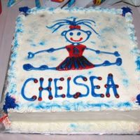 Cheerleading Cake Simple square cheerleading cake. All buttercream with the new Wilton sparkly gel icing for the girl and other accents. sprinkled with...