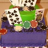 Poker Birthday Cake All Buttercream with real chips and cards.