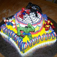 Super Hero Extravaganza! This obnoxious cake was made for a boy obsessed with super heroes! He absolutely loved it!!!