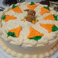 Carrot Cake With Bunny Carrot cake with buttercream icing and the bunny is made of fondant