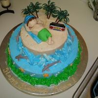 Beach Island Cake I made the cake with buttercream with fondant and plastic accents.