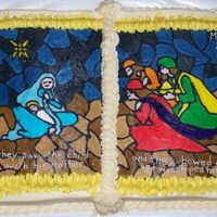 Epiphany Cake I made this for an Epiphany party at church. It is a book pan and the picture is a FBCT. It turned out really good.