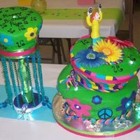 Psychedelic 16Th Birthday Cake I made this for a 16th birthday. It was supposed to be 3 tiers, but the 3rd tier for some reason didn't cooperate, so we made it 2...