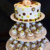 "Lacy's ""bum""ble Bee Baby Shower Cake 8"" buttercream frosted with fondant accents along with 40 cupcakes with fondant Bumble bees.."