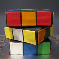 Rubik's Cube Tried doing a Rubik's Cube cake for my brother's birthday, my measurements were a little off, but It still came out alright. It&#...
