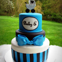 "Baby E A baby shower cake for my friend who had not quite decided how to spell her new son's name! 9"", 7"" (2"" tall), and 5&..."