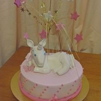 Magical Unicorn  This is a birthday cake for my friend's daughter who loves pink. The unicorn was made with fondant/modelling paste and the stars and...