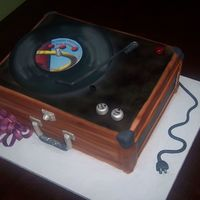 Record Player 3 1/2 sheet cakes stacked, covered in Satin Ice fondant with Satin Ice decorations.