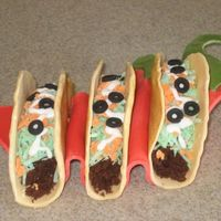 Tacos  Made these tacos for a Cinco de Mayo party. Shell is chocolate molding clay, meat is cupcakes, lettuce is coconut with food coloring,...