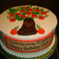 Jack's 7Oth buttercream with fondant tree and apples. All his childrens names and grandchildren too.