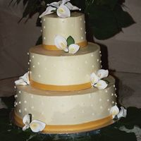 Arecelli'a Cake Yellow SMBC with swiss dots. Darker yellow fondant ribbon.