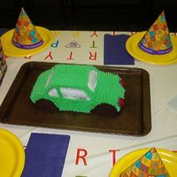 3-D Car Cake. Devils cake with White frosting.