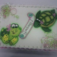Turtle Baby Shower Cake This cake was for a mom-to-be that loves turtles and had decorated the baby's room in a turtle theme.