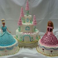 Twin Princesses All Buttercream, decorated to match dolls original dresses.