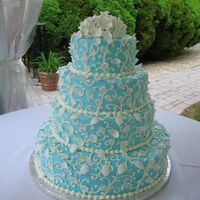 Tiffany Blue Blue buttercream icing with white fondant leaves.