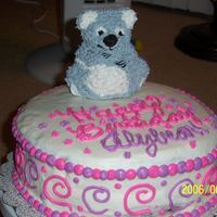 "Koala Birthday Cake This cake was made for my sister's 20th birthday. I used the mini-bear stand- up pan for the Koala and put it on top of 2 10""..."