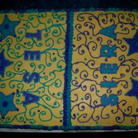 Scroll scroll work on a birthday cake for two