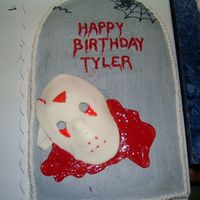 "Friday 13Th   tombstone, Friday 13th cake with red gel icing as blood, fondant ""Jason"" mask"