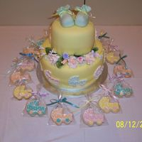 "Baby Shower Cake And Cookies  Made this for a baby shower, along with 70 matching baby carriage cookies. Cakes are 6"" and 10"" half chocolate/vanilla, filled..."