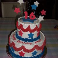 Fourth Of July Birthday Cake 16th Birthday cake for 4th of July Celebration. White cake torted with strawberry filling and buttercream frosting. Stars are fondant. Used...