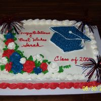 Fourth Of July Graduation Cake   All buttercream