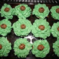 Cabbage Patch Cupcakes  cupcakes with buttercream frosting. Baby heads are made from chocolate marshmallow fondant and details are drawn with edible markers. These...