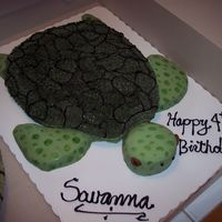Turtle Tur For Savanna's 4th birthday - buttercream and MMF. Modeled after Savy's favorite stuffed animal.