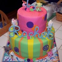 Rachel's 6Th Based on a cake by CC user DianeLM. Decorated with the Littlest Pet Shop animals and MMF. Need to work on my mid-cake bulge!!