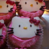 Hello Kitty Cupcakes candy kittys are hand made atop of cupcakes for a school bday party