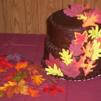 Leaf Cake chocolate buttercream with chocolate leaves