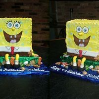 "Spongebob Made with 4 8"" square cakes stacked (boards in the middle and heavily doweled). Iced in buttercream with fondant facial features,..."