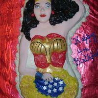 Wonder Woman  Made using the old pan, but instead of using the plastic faceplate, I molded a fondant piece and drew in the features with food markers....