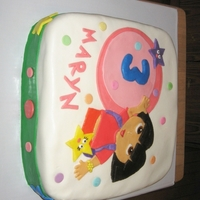 Dora Dora Birthday cake. Chocolate Fudge, buttercream icing, and fondant.