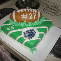 Football Cake Chocolate Sour Cream cake, Chocolate buttercream icing and fondant. Birthday cake for a huge football fan. Was lucky enough to find his...