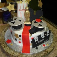 Movie Theme Buttercream cake with lots of fondant accessories, inspired by alracntna and cuchenscm0109.