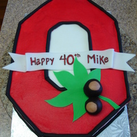 Ohio State Buttercream with fondant accents.